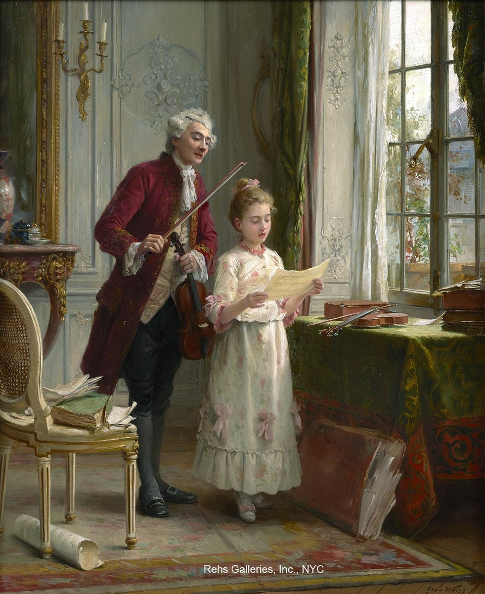 The Artist (SOLD ARCHIVES)  EMILE GEORGES WEISS (1861 - 1929) The Music Lesson   #frenchartist #figurativeart #violin #musiclessons #simplertimes #19thcenturyart #figurepainting #elegantinteriors #frenchacademicart #workofart #paintingoftheday #fineart #artpic.twitter.com/RJlILZSnqf