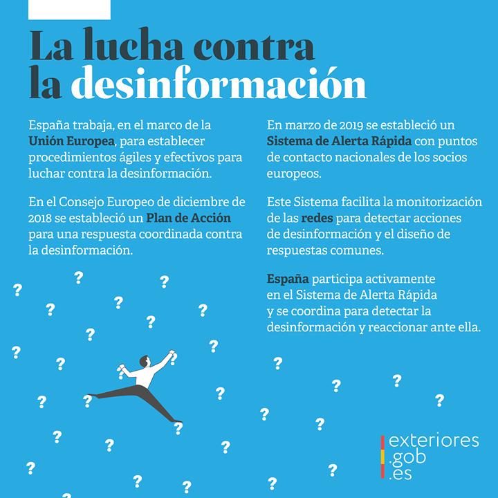 #España trabaja para establecer procedimientos ágiles contra la #desinformación en el marco de la #UE 🇪🇺.  ⚠️ Participamos activamente en el Sistema de Alerta Rápida, en coordinación con nuestros socios europeos. https://t.co/LAvCNmvjqa