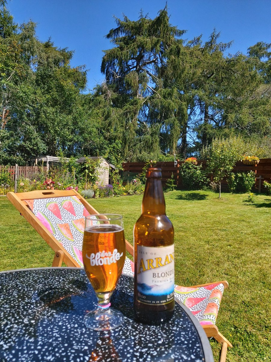 A lovely summers day here in the Highlands. Enjoying an @ArranBrewery in the hot sunshine.