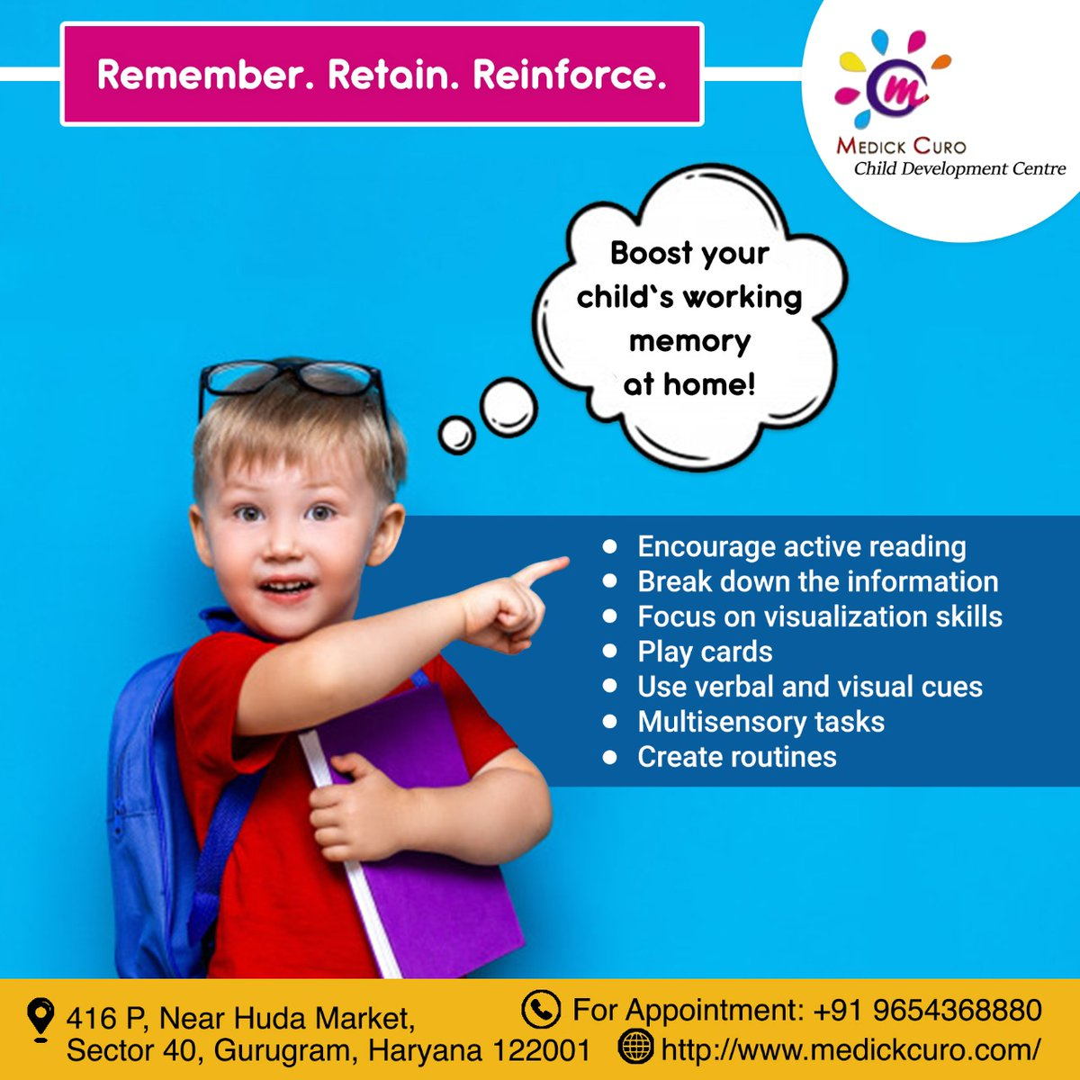 Solidifying the working #memory foundation in your #child.  Working memory is a basic mental skill. It's important for both learning and doing many everyday tasks.  Click here:  http://www.medickcuro.com/   #medickcuro #gurgaon #Gurugram #children #kids #childcare  #ASD #autismpic.twitter.com/e87v5BmKX5