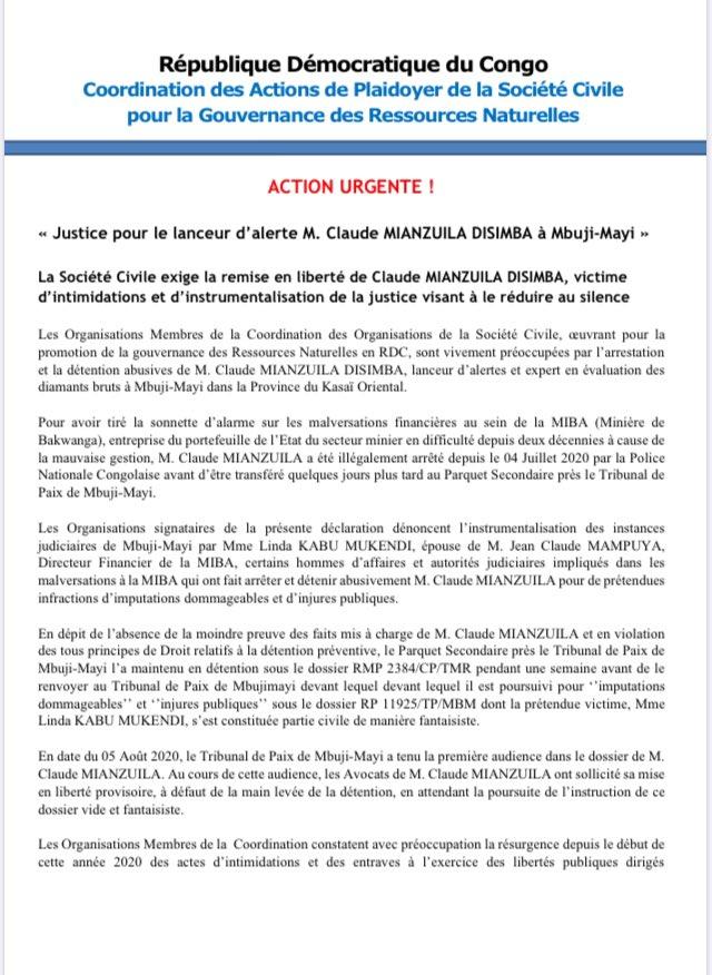 #RDC #Miba : 33 organisations de la coordination pour la gouvernance des industries extractives appellent à la libération du lanceur d'alerte de la Miba, Claude Mianzuila, détenu depuis un mois et appellent à une enquête sur les magistrats qui l'ont poursuivi.