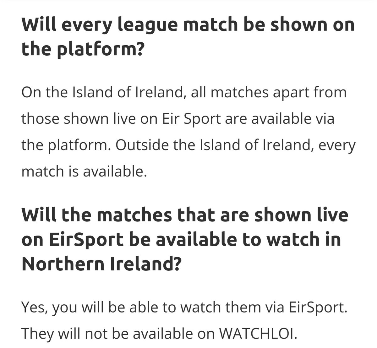 @Macal16 @mark_cafferkey @chriswade74 I understand your frustration but unfortunately its not a situation we control. Games selected for broadcast by eir Sport arent included in the WATCHLOI service in the island of Ireland. This is why the WATCHLOI rest of world pass costs more as it includes more games.