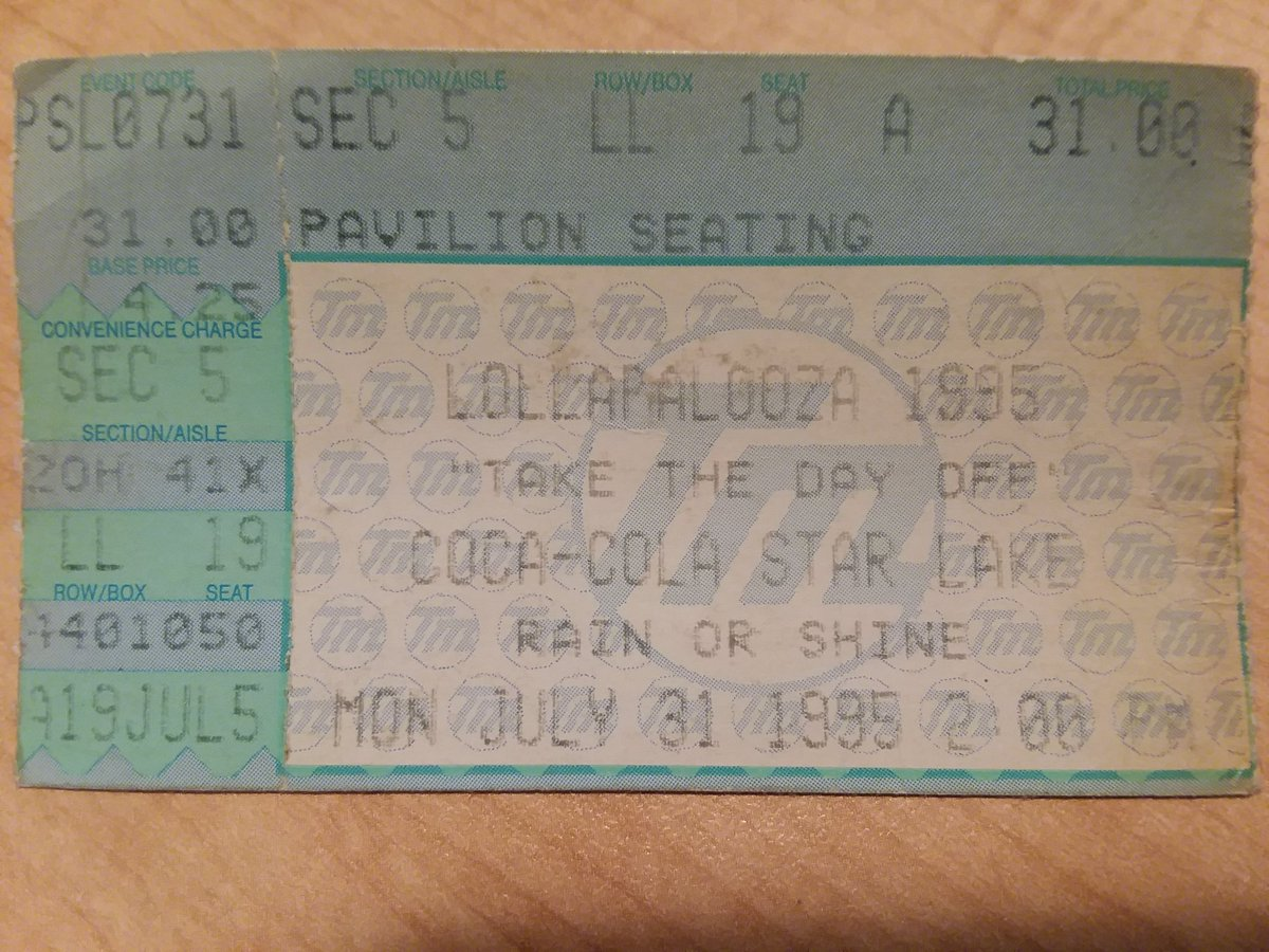 #ticketstubthursday is my 1st festival. I remember Hole was a cpl songs into their set then Courtney Love walked off stage. Sonic Youth ended up playing an amazing extended setlist. #lollapalooza #burgettstown #Pittsburgh https://t.co/iSHfjxKg00