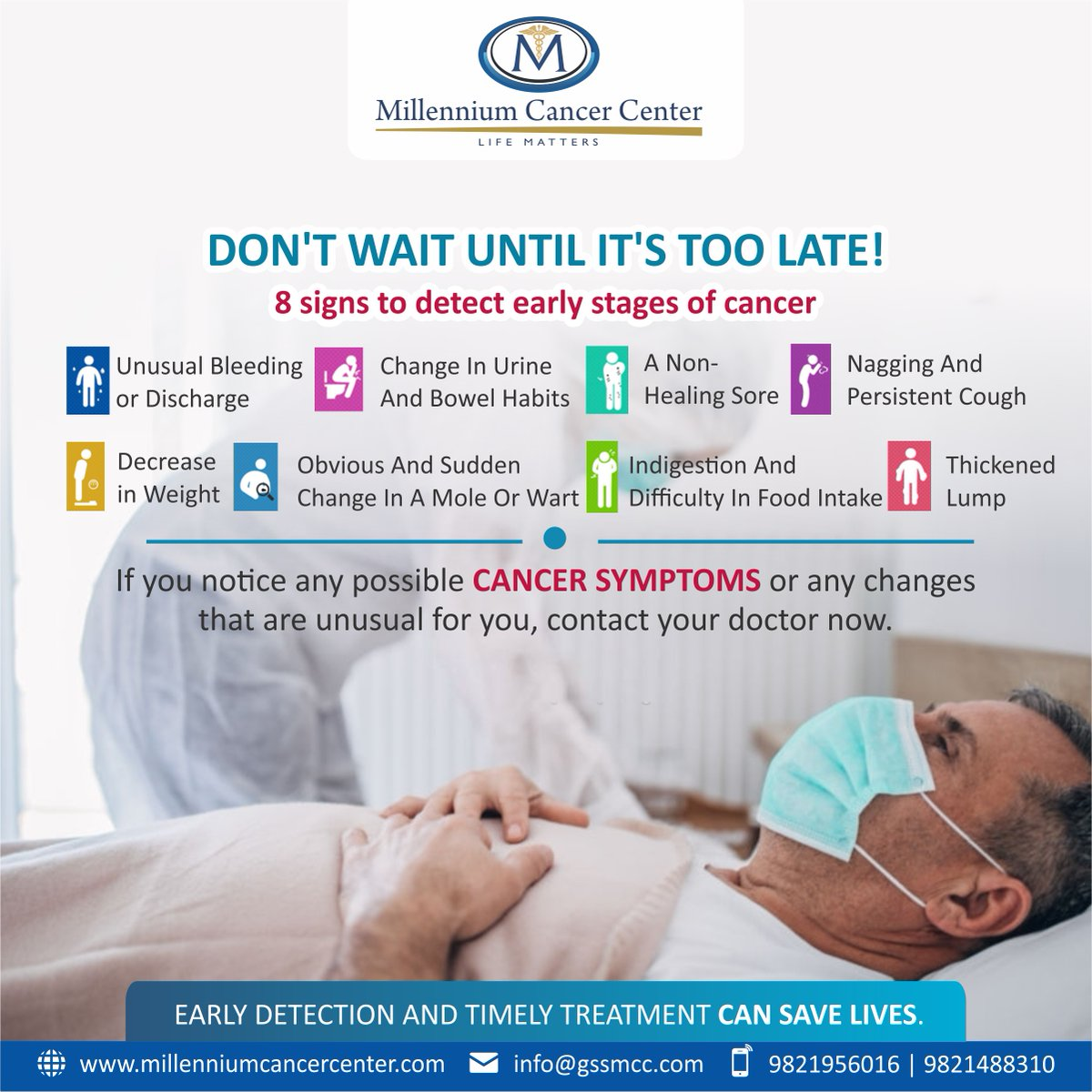 Don't wait until it's too late! If you are experiencing any of these #cancersymptoms, please see a specialist to schedule an examination and screening. We are here to help you get the #cancer information you need.   #MillenniumCancerCenter #CancerScreening #Oncologistpic.twitter.com/QEWAwXAfqE