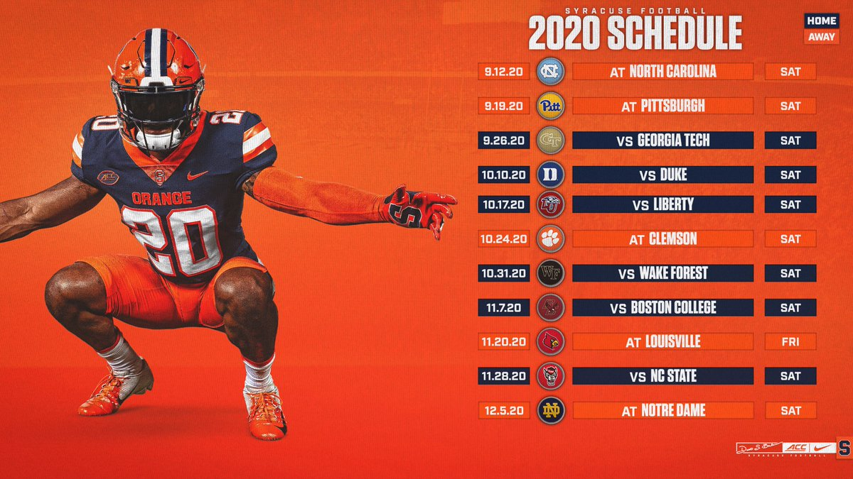 Syracuse Football On Twitter Our New 2 0 2 0 Schedule Is Here Details Https T Co Lnfs6xvzap