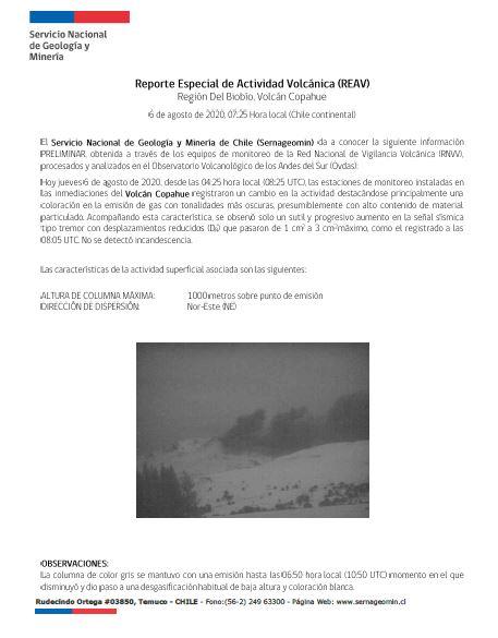 RT @Sernageomin VOLCANES EN ALERTA! Reporte Especial de Actividad Volcánica de volcán #Copahue , da cuenta de un cambio en la actividad. @Sernageomin, por intermedio de su Observatorio, monitorea 24/7 y en tiempo real los volcanes más activos de Chile . Mantiene alerta técnica #Amarilla.