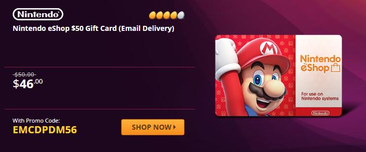 Nintendo eShop $50 Gift Card Code is $46 at Newegg w/ code EMCDPDM56 2