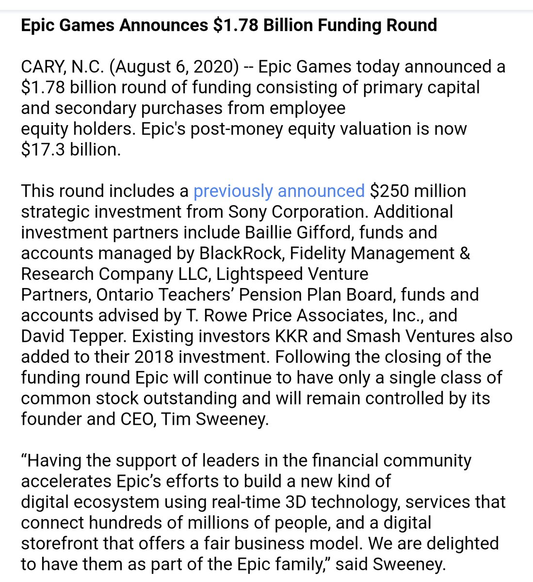 Official announcement of Epic Games fundraising and new investors