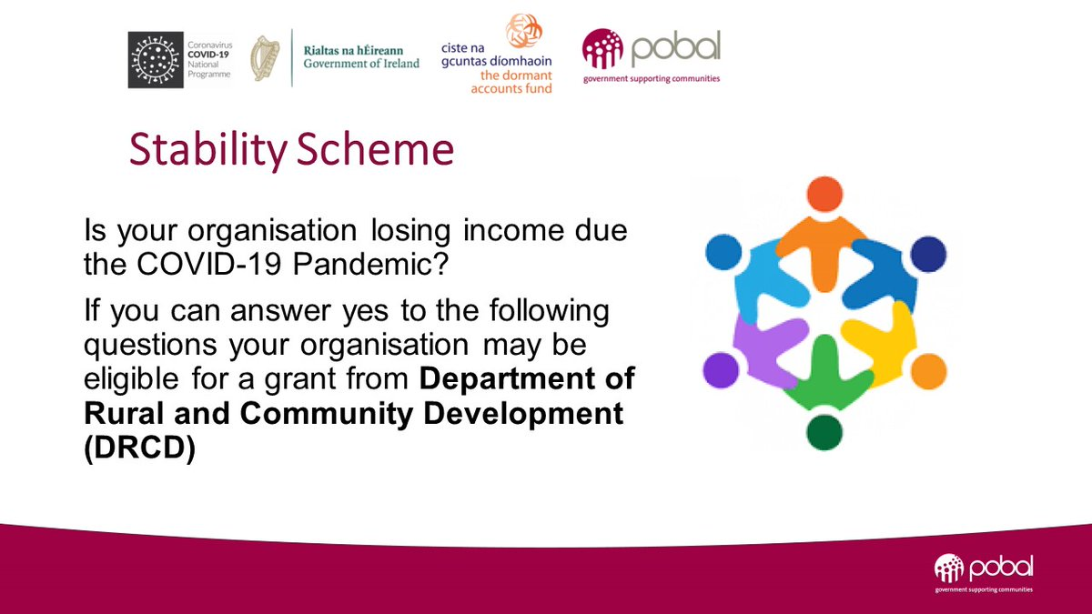#StabilityScheme funding to support #community, #voluntary, #charities & #socialenterprises closes 10th Aug. Find our helpful step-by-step video on how to check your group's eligibility & apply on our website at: https://t.co/JnB4OnZUaM… #COVID19 @DeptRCD https://t.co/iLGdO3bAPu