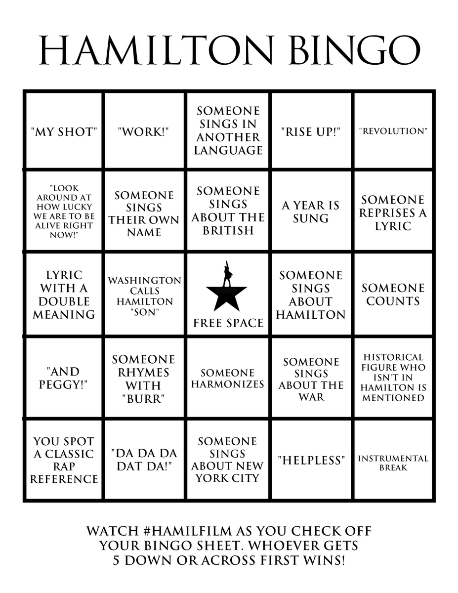 All right, all right! We've got some BINGO for tonight's #Hamilfilm Twitter watch party! Play along with us beginning at 7PM ET.