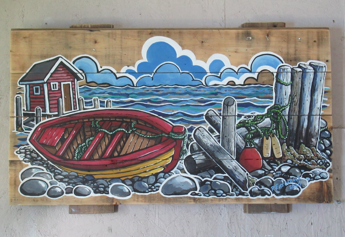 """Today's #Newfoundland art share is ... """"Floats, Ropes, and Boat T & G"""" (2020) ~ 18"""" X 32"""" acrylic on tongue and groove board by Reilly Fitzgerald. Hope you like it. (original available) #ReillysArt #NLart #painting #boats #TandG #beach #artshare #paintingoftheday #artofthedaypic.twitter.com/Anu8LOMCx7"""