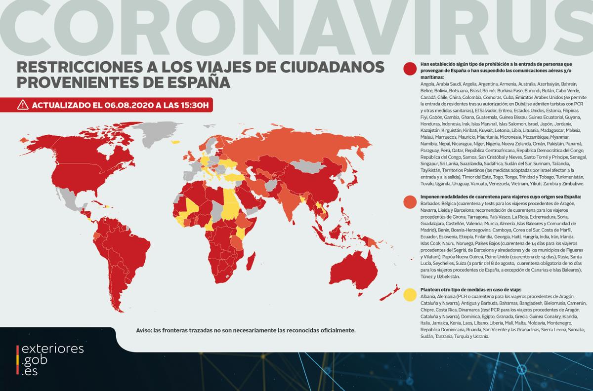 ✈️🚫Restricciones a los viajes de ciudadanos provenientes de #España ⤵️  ℹ️ Consulta en nuestra web la lista actualizada a las 15:30 horas de hoy:  ➡️https://t.co/PuaK2XGcNS https://t.co/Av1YjPnHC3