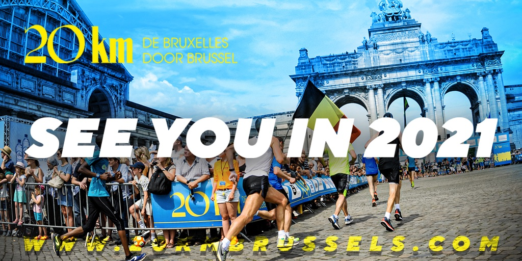 """SEE YOU IN 2021! With pain in our heart but love in our soul we regret to inform you that because of the current health crisis and in the face of uncertainty, we have made the decision to cancel the 2020 edition of the """"Brussels 20 km"""". Keep running and be safe!  #20kmbxl https://t.co/bQvw6ZyFoF"""