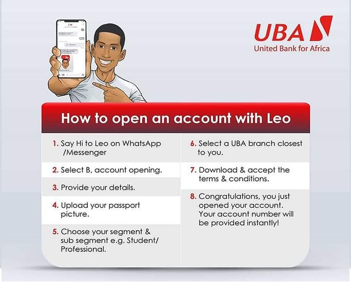 Did you know that you can open a UBA account at your convenience? To Open a UBA account save LEOs  WhatsApp number +260764241310 or search for  #UBAChatBanking on messenger, and follow these simple steps. #AfricasGlobalBank #UBAZambia https://t.co/ZujxkED5nY