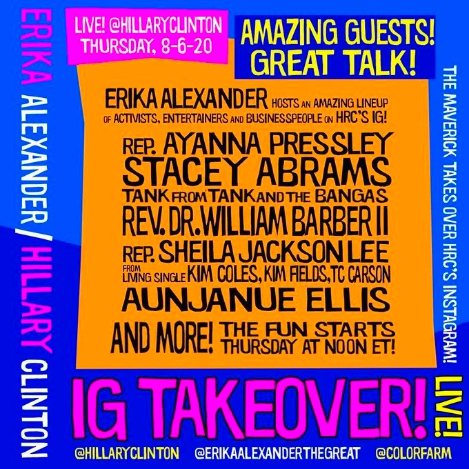 Just look at this line-up.   Don't miss @EAlexTheGreat's takeover of my Instagram today, the 55th anniversary of the Voting Rights Act, with some very special guests. (Maybe even Erika's mom!)   Starts at noon ET. https://t.co/N09gfgmFmN https://t.co/qaYrJinpgq