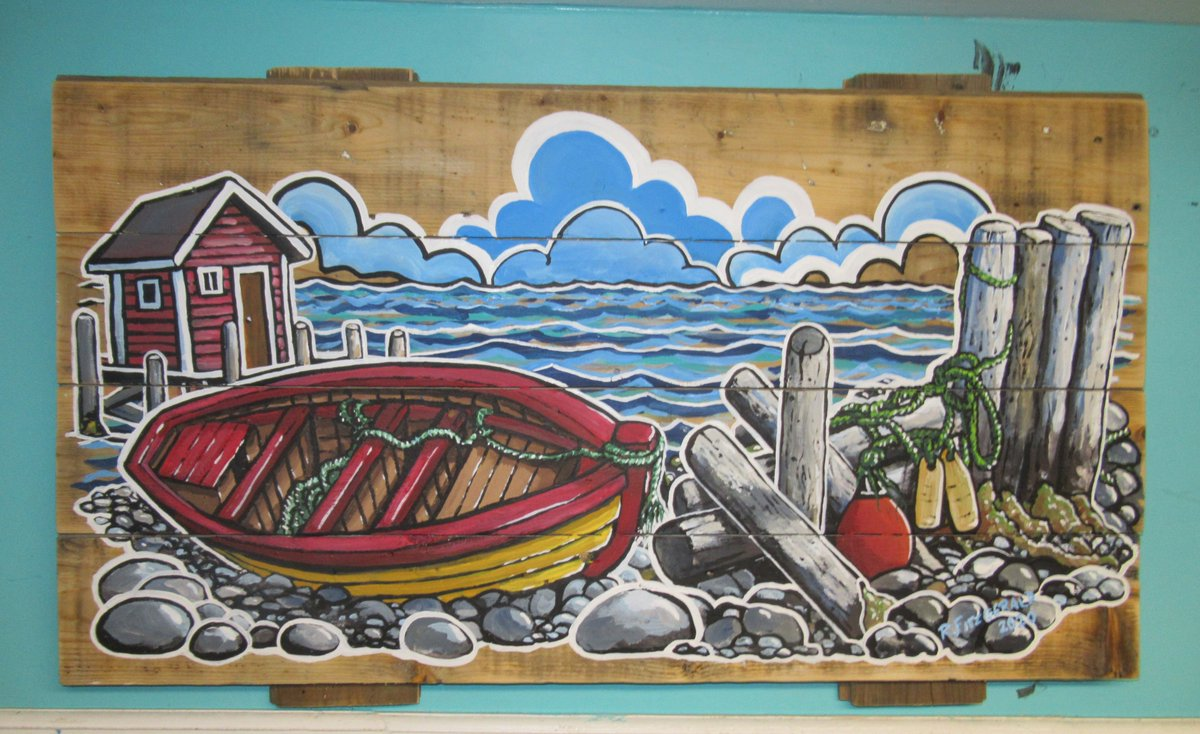 """Today's #Newfoundland art share is ... """"Floats, Ropes, and Boat T & G"""" (2020) ~ 17X 30"""" acrylic on tongue and groove board by Reilly Fitzgerald. Hope you like it. (original available) #ReillysArt #art #painting #boats #TandG #beach #artshare #paintingoftheday #artofthedaypic.twitter.com/a9LDtjSs5W"""