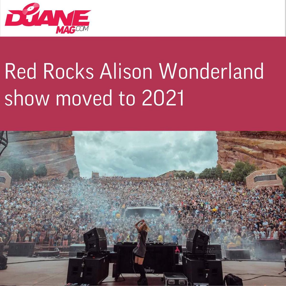 """Highly-anticipated Alison Wonderland shows at Red Rocks amphitheatre were moved to 2021.  Alison shared this sad news via her socials.  """"I am super sad about this announcement BUT your safety comes first...  More: https://djanemag.com/news/red-rocks-alison-wonderland-show-moved-2021…pic.twitter.com/vbsFtzyyv1"""