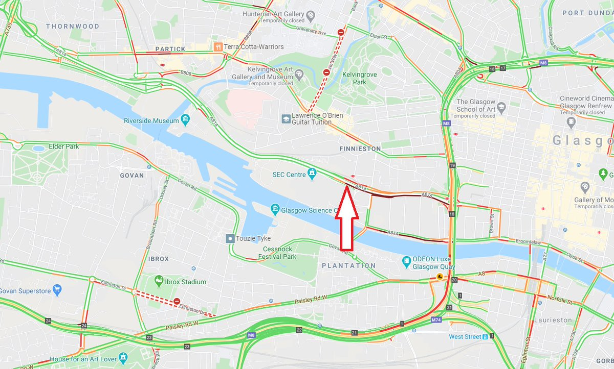 test Twitter Media - UPDATE❗️⌚️15:35  #A814 Clydeside Expressway westbound at Finnieston  Closed due to an RTC, traffic being diverted off at the slip, slow traffic back to J19 Kingston Bridge eastbound  @GlasgowCC https://t.co/ENqgs3PN6c