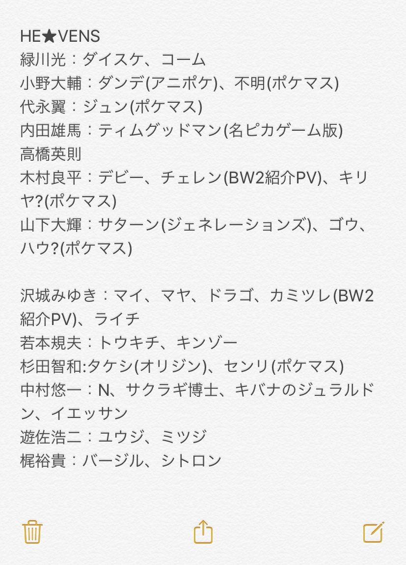 自分もちゃんと知りたかったのでポケモンwikiとポケマスの攻略サイトをみてリスト作ってみた  アニポケ長いから多いね! うたプリの声優さんけっこうポケモンに関わっている😇
