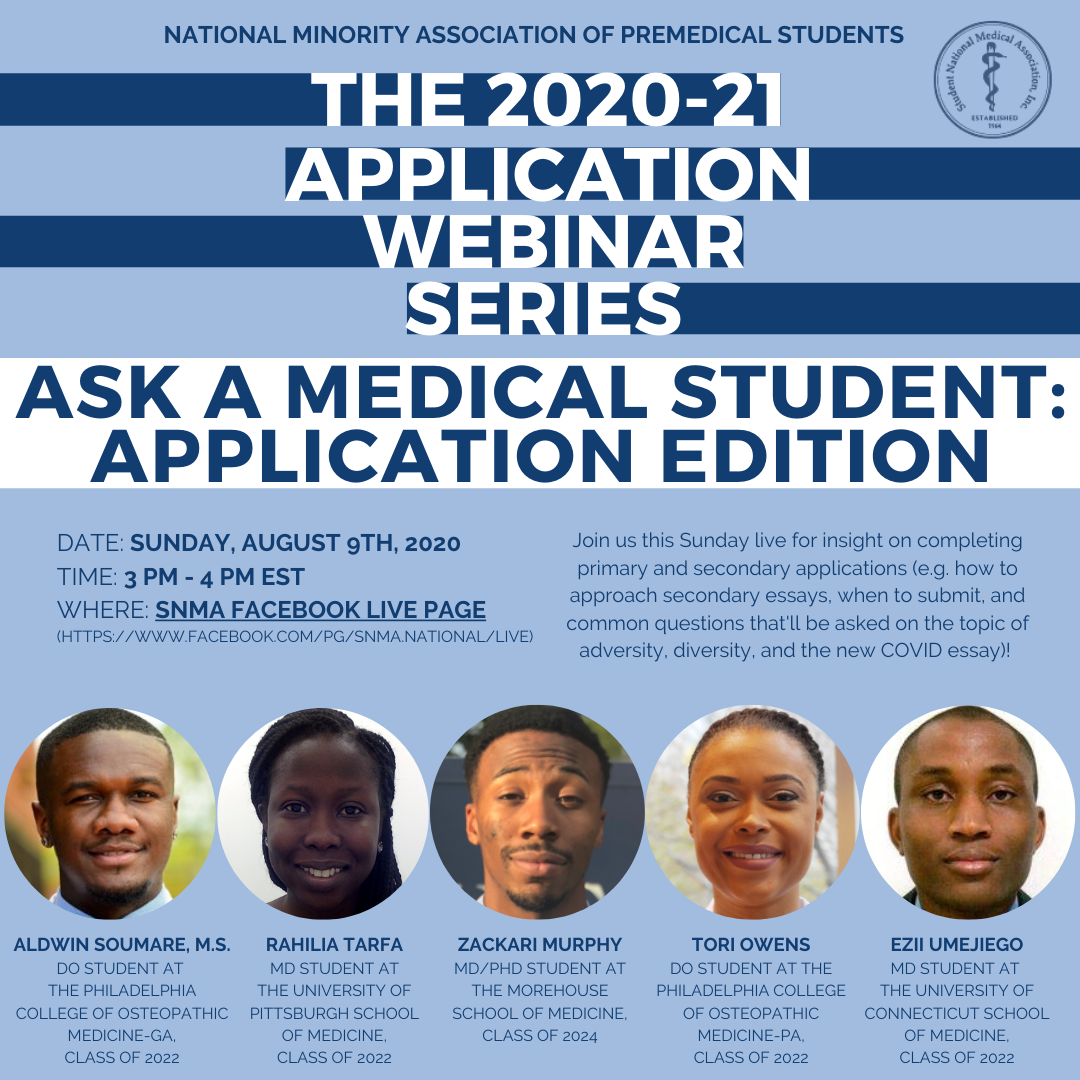 Applying to medical school or Planning to apply to medical school? Join us as we learn from other medical students about the application process. We plan to touch on secondary applications, primary applications and more. Send questions to MAPSacademics@snma.org. See you there!