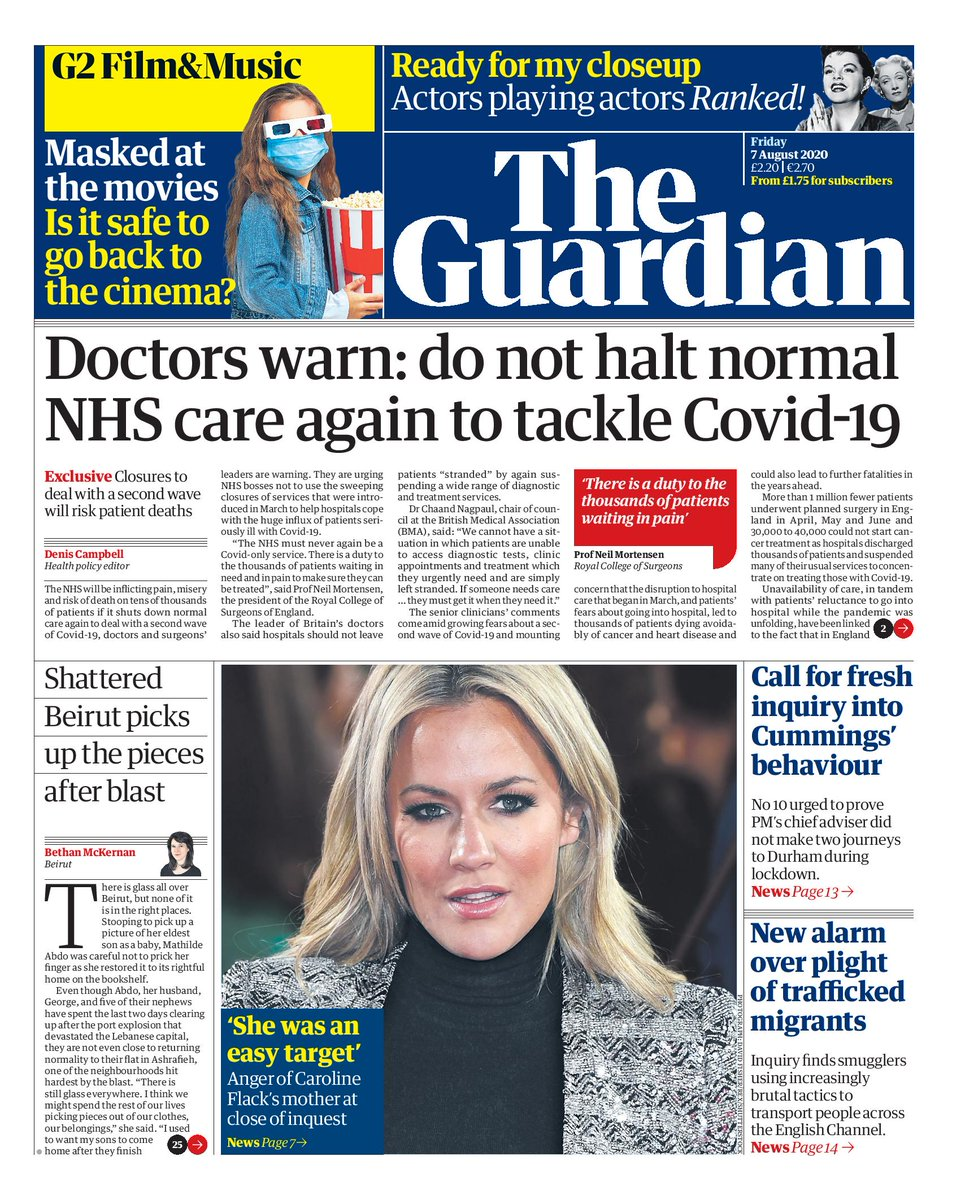 Tomorrow's Guardian: Doctors warn: do not halt normal NHS care again to tackle #Covid19 Read our exclusive here, by @denis_campbell: theguardian.com/world/2020/aug… #TomorrowsPapersToday