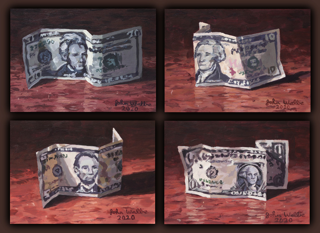 Finished a series of 4 paintings, dollar currency. #stilllife #paintingspic.twitter.com/keTc7V4B6I