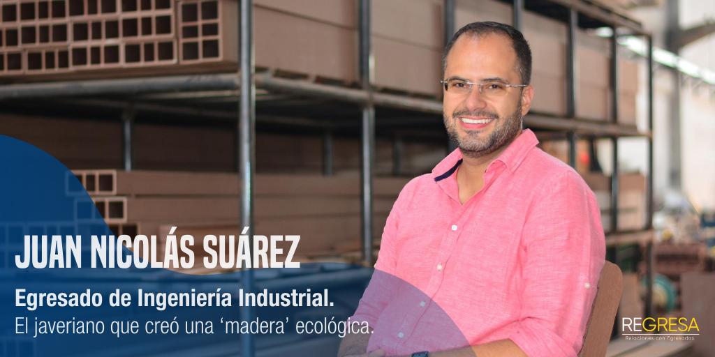 El javeriano que creó una 'madera' ecológica.♻️ Nuestro egresado de Ing. Industrial, Juan Nicolás Suárez, fundó @Diseclar, la empresa que recicla plástico, se mezcla con cascarilla de café y se le da vida a un producto ideal para construir muebles🌱🌍 #OrgulloJaveriano #Egresados https://t.co/ivnx99tZHR