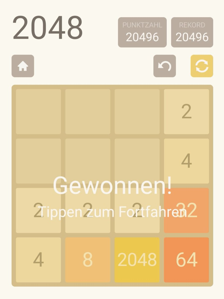 Finally finished 2048, took some attempts. On to the next computer game, maybe a soulslike, that would be about the same difficulty..  pic.twitter.com/STEAirgEu1