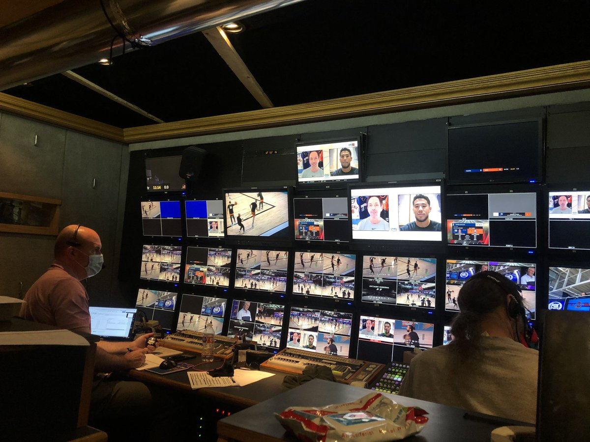 This is what it looks like inside the (socially distanced) #Suns TV broadcast truck. https://t.co/hhM9n9SfkK