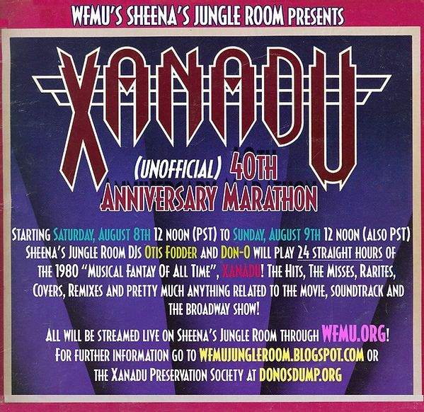 "This weekend the Sheena's Jungle Room stream celebrates the 40th anniversary of Xanadu! DJs Otis Fodder and Don-O will feature 24 straight hours of 1980's ""Musical Fantasy for All-Time."" It all kicks off Saturday August 8th at 3pm Eastern/Noon Pacific! https://t.co/nSWLHbFZdA https://t.co/OMTC1ho6qc"