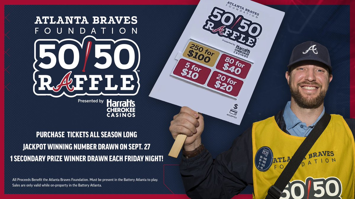 🗣 Get your tickets! @Braves Foundation 50/50 Raffle tickets are available at the @BatteryATL all season long! 🎟 Braves.com/5050
