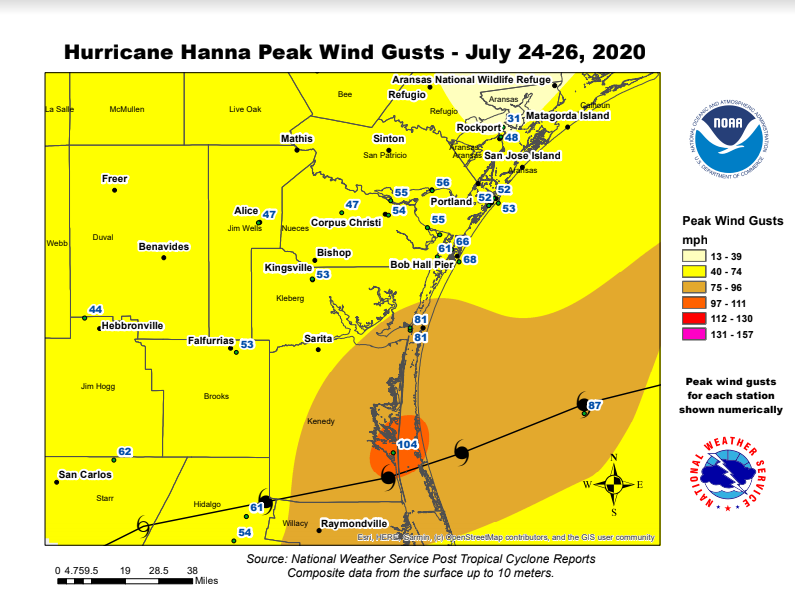 We put together a preliminary peak wind map from Hurricane Hanna. A marine observation site, Rincon Del San Jose (~17 miles north of Port Mansfield), reported a wind gust of 90 knots or 104 MPH! #Hanna #txwx
