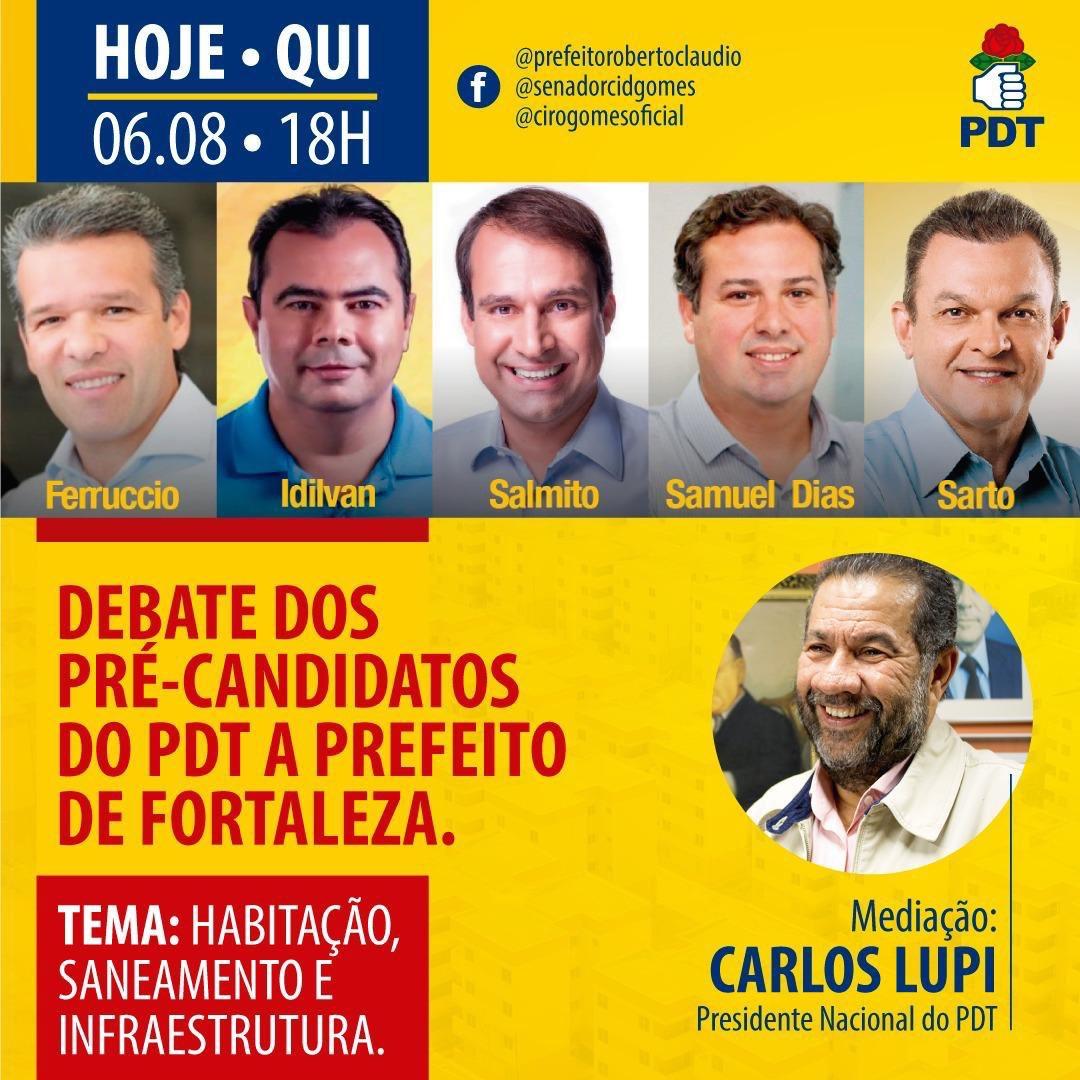 Hoje vou mediar um debate entre os pré-candidatos a prefeito de Fortaleza do PDT!  Conto com vocês! https://t.co/yMX6FgAFcc