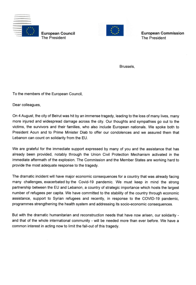 Together with @eucopresident, we have sent today a letter to Member States urging them to support #Lebanon beyond its immediate needs in the current dramatic circumstances, also for its longer term reconstruction. We stand ready to help coordinate EU support.