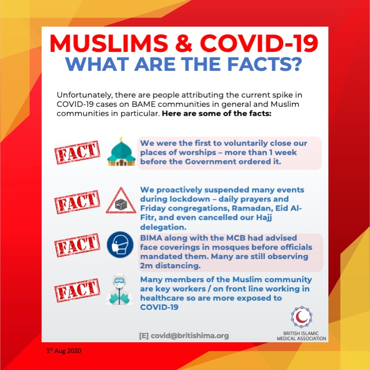 What are your assumptions about COVID-19? 🦠   We are also sharing facts on the positive impact Muslims have taken the initiative with during COVID-19 and the participation of the BAME community on the frontline.  🕌🧕🏼👮🏿♀️👨🏽🏭👩🏾⚕️ (2/3) TA https://t.co/VEbsjTuLyF