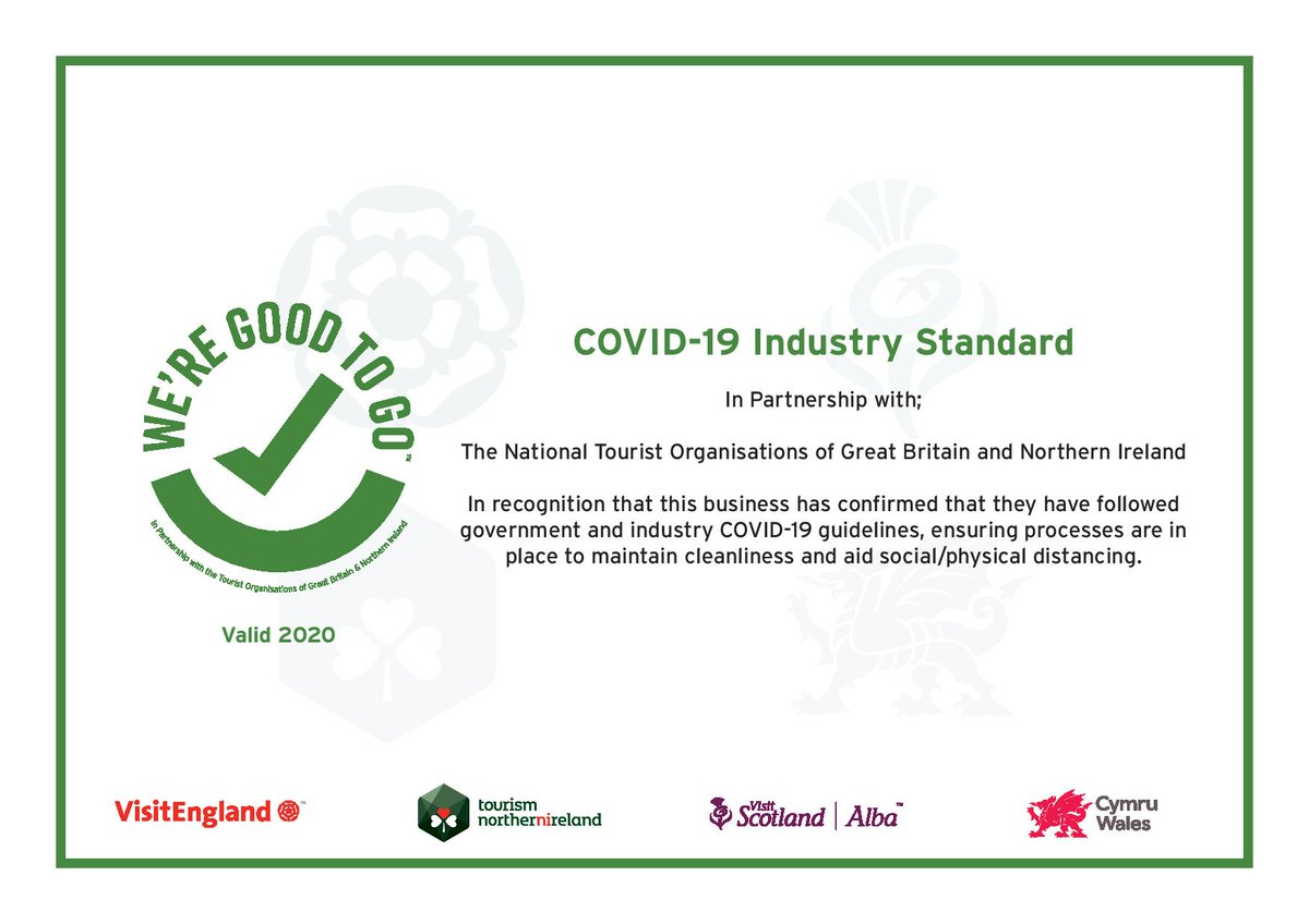 An official UK mark to signal that we have worked hard to follow government and industry COVID-19 guidelines and have a process in places to maintain cleanliness and aid social distancing.   As always your safety is our priority. https://t.co/TguUIf7XrT