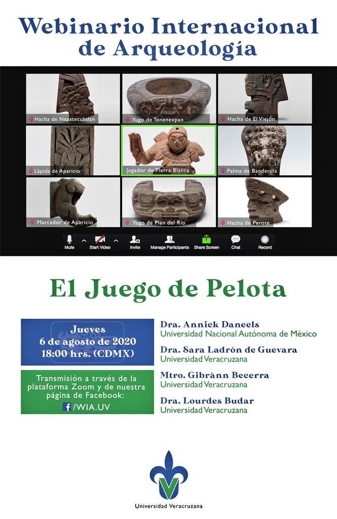 """Les invito al Webinario Internacional de Arqueología. Esta semana abordaremos el tema """"El Juego de Pelota"""".  #UV_DamosMás   Esta tarde a las 18h.  En vivo por: https://t.co/PA4XmCFpAF https://t.co/6ElGQvU5nN"""