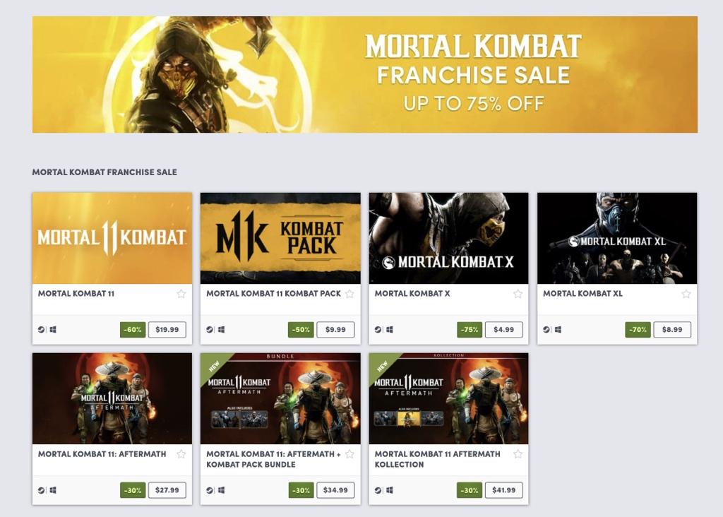 Mortal Kombat franchise sale on Humble 2
