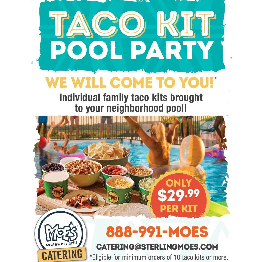 Your pool is about to be the coolest spot in town. Call 888.991.MOES or email catering@sterlingmoes.com to set up your Taco Kit Pool Party from @Moes_HQ (2240 NW 19th Street #1200B).  #tacoseveryday #poolparty #quesolovers #gladesplaza #bocaratonpic.twitter.com/bm34JBktqh