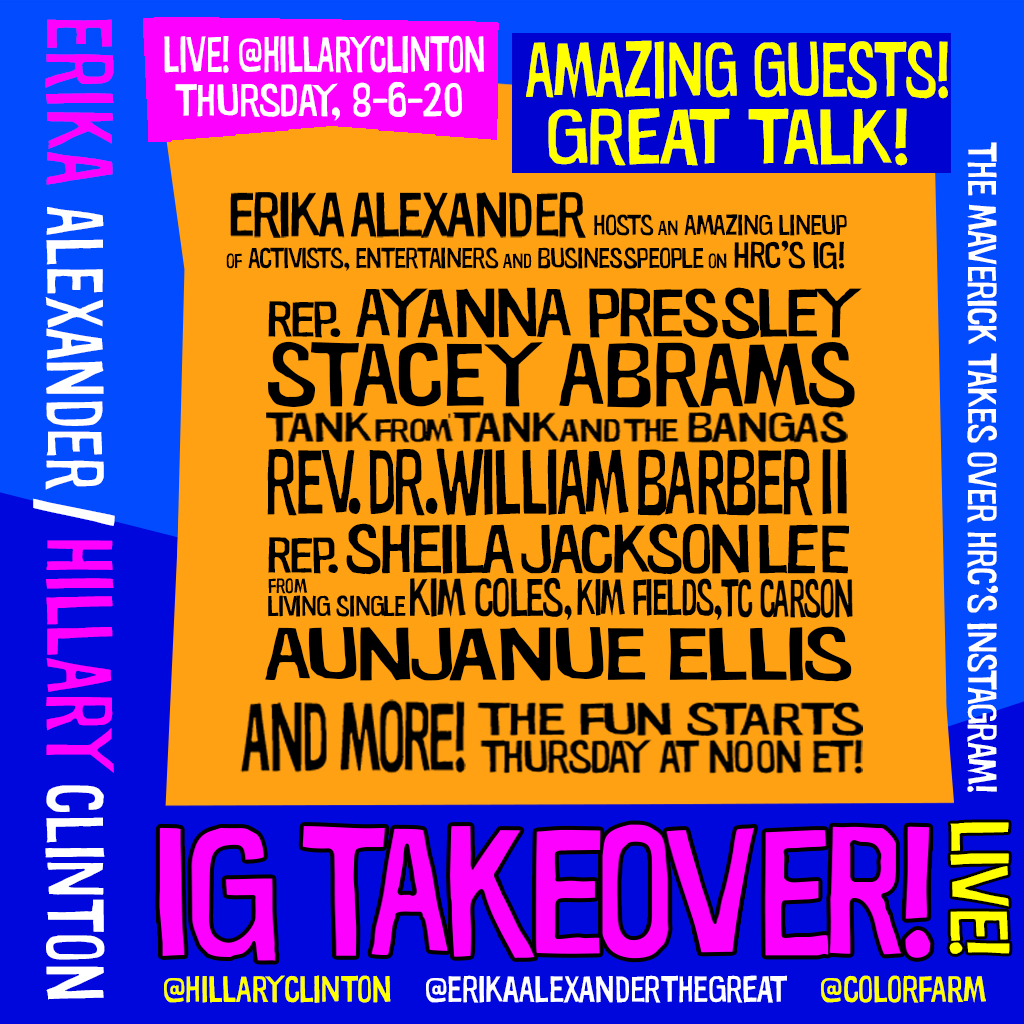Check out the amazing lineup for @EAlexTheGreat's takeover of @HillaryClinton's Instagram Live! Tune in all day today. #GoodTrouble https://t.co/he4f5aLP1t