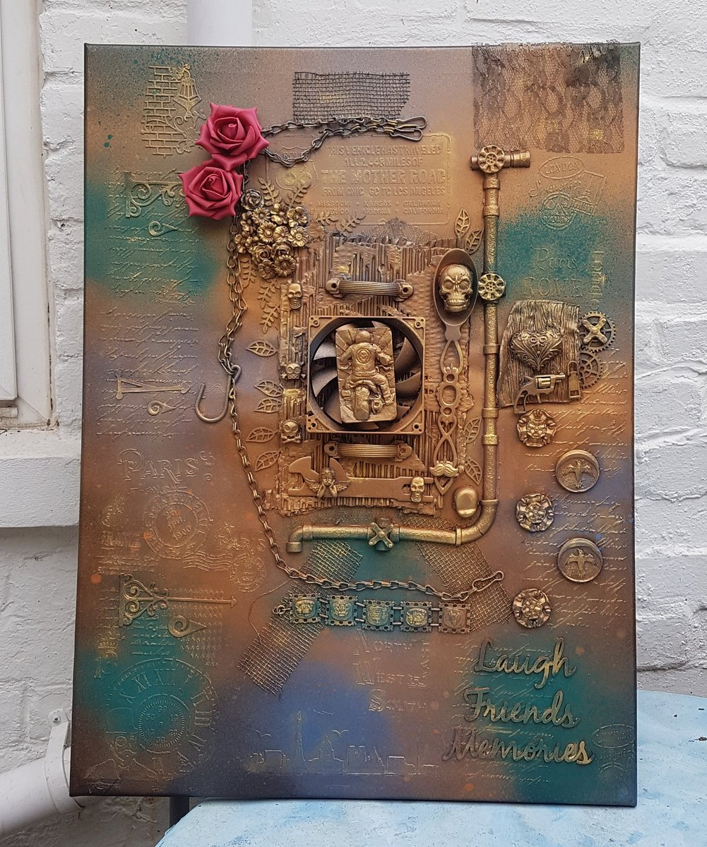 #UKSmallBiz @Ramsgate #margate #broadstairs  My latest Steampunk/Mixed media art work designed by myself Totally Wired For Steampunk  22.5 x 30 inches set on canvas  £200.00 #quirkyhome #Steampunkart #mixedmediaart #Ramsgate #art #motorbike #modernart #canvasartpic.twitter.com/QCBmwofhQs