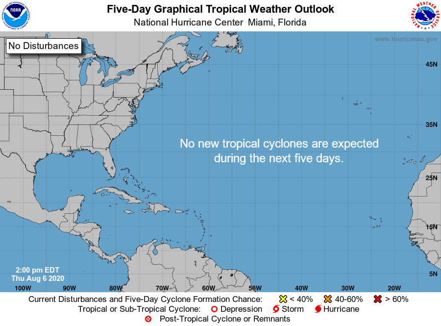 August 6 update: Thankfully, the Atlantic is expected to be quiet through the weekend. This is the first time with no system in the outlook since July 18 - a busy few weeks. The latest information is always at hurricanes.gov