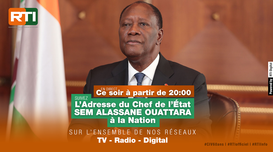 Ce soir, à partir de 20h suivez en direct l'adresse du Chef de l'Etat, SEM Alassane Ouattara à la Nation. En direct sur l'ensemble de nos réseaux TV, Radio et Digital. #CIV60ans #RTIofficiel #RTI1 #RTI2 #RTIBouaké #RadioCI #Fréquence2 #RTIinfo #RTIDigital #LaTVdOrange https://t.co/dsFvELMvF5