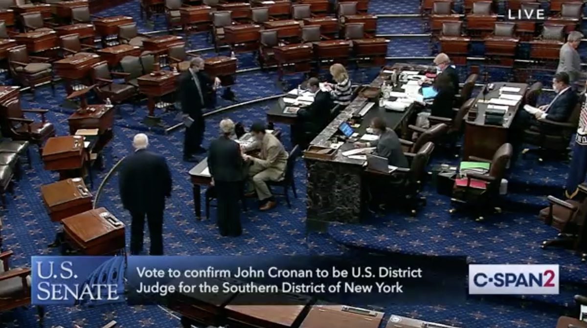 BREAKING: @senatemajldr is holding a vote to confirm Trump's 203rd lifetime federal judge instead of voting on the HEROES Act, police reform, or dozens of other civil rights bills buried in his legislative graveyard.  Beyond shameful that THIS is his priority amid the pandemic. https://t.co/SqYGNSfe8T