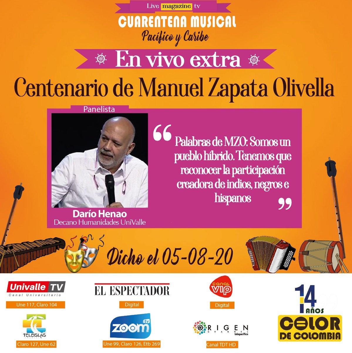 #Dicho por @marino_aguado, jefe de producción de @TelepacificoTV; @luis_sevillano, director de Poblaciones de @mincultura; y #DaríoHenao, decano de Humanidades de @UnivalleCol; durante #EnVivo #Extra de #CuarentenaMusical #Pacífico y #Caribe: Centenario de Manuel Zapata Olivella. https://t.co/Tg8NmSUfi8