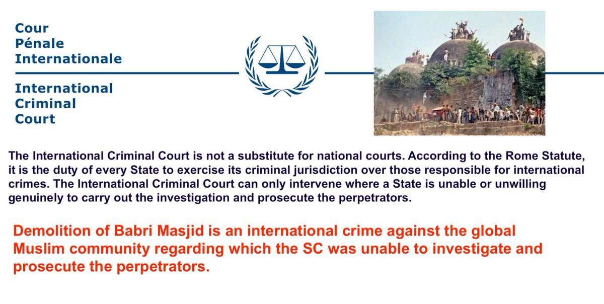 It's been clear that RSS backed @AIMPLB_Official and their lawyer Zafaryab Jilani won't agree that Babri Masjid belongs to International Muslim Community. I appeal to Indian Muslims to join us in the appeal to ICC. We can reclaim and rebuild the Masjid. In Sha Allah @OIC_OCI https://t.co/pKzaYJj9sS