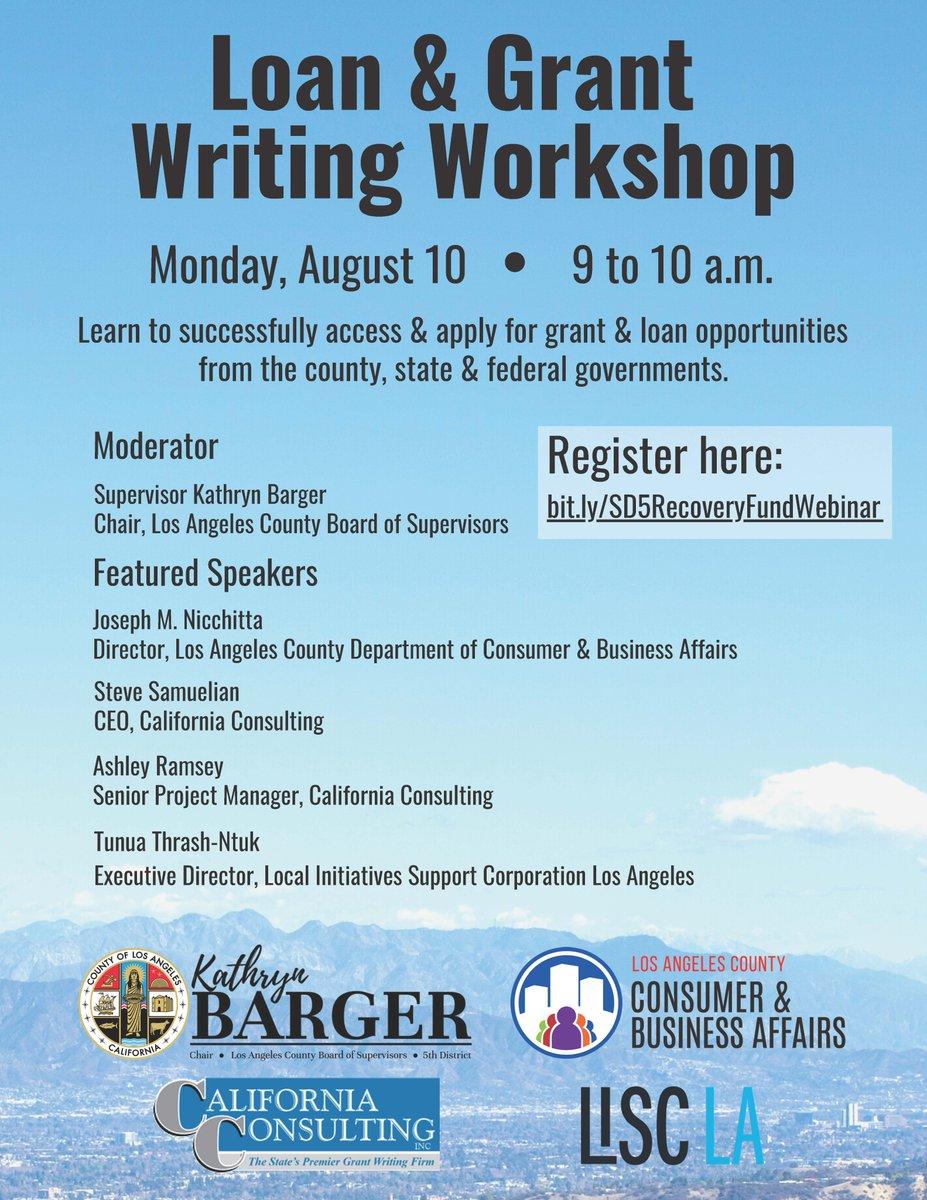REMINDER: Loan & Grant Writing Workshop today!   Details below.   #SmallBiz #GrantWriting #Nonprofits