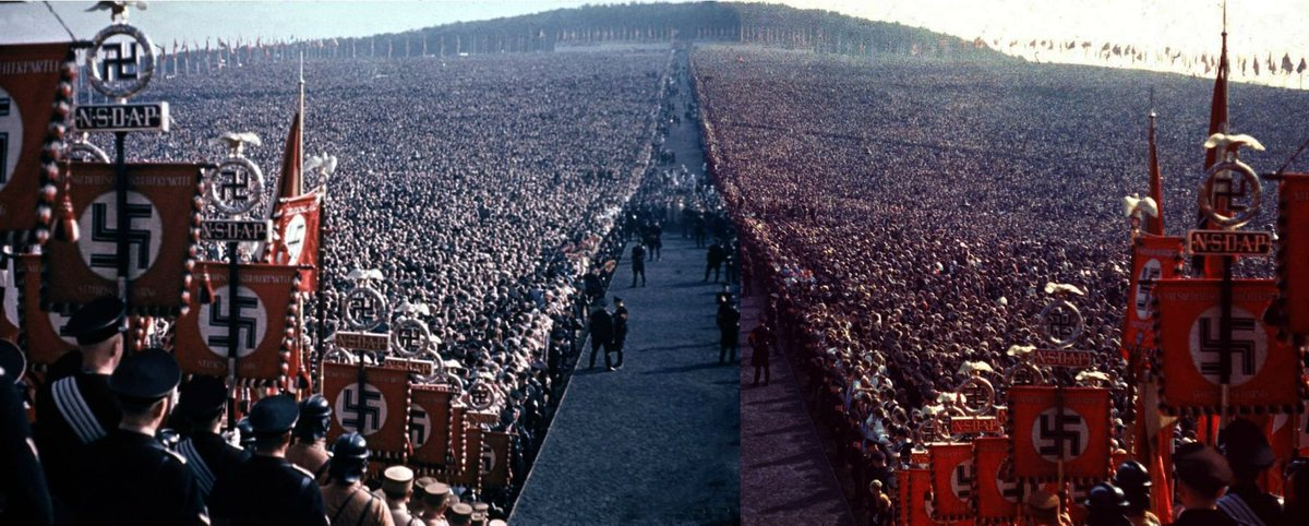 The massive Nazi rally at Reichserntedankfest in 1934 was attended by over 700,000 people. Moral of the story is just because a big crowd believes in an idea, doesn't necessarily imply it cannot be evil. https://t.co/ow6hSk1aMD