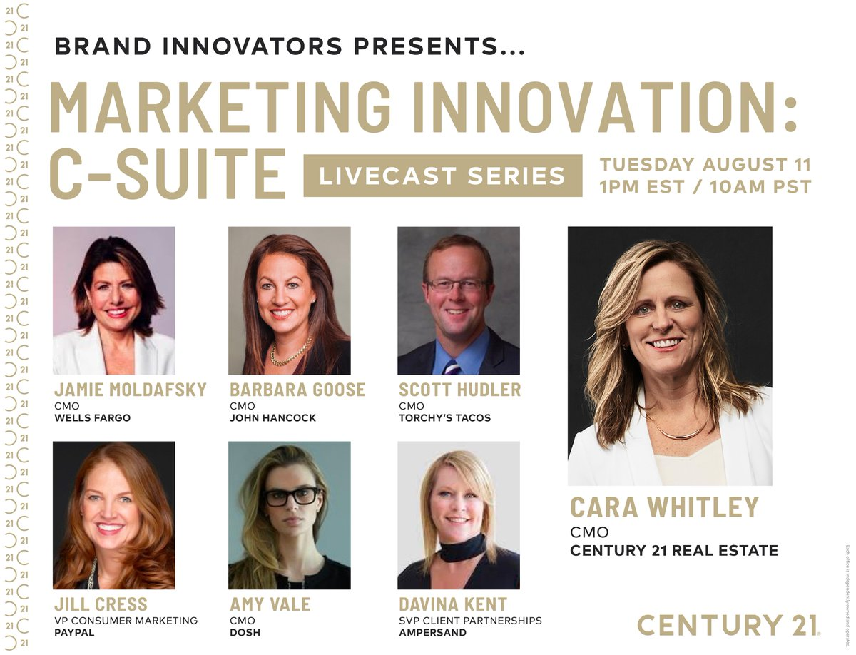 #TuneIn as C21 #CMO Cara Whitley, joins an all-star lineup of marketing execs to discuss what innovation looks like for the C21 Brand. #RealEstate https://t.co/3dEOJ8qWSQ