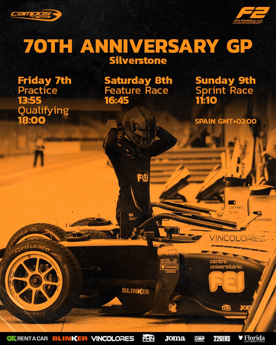 🔸Final countdown to start the... 70th Anniversary GP🔸!  ☝️Check the schedule in the Spanish hour!  #Silverstone #BritishGP #F3 #F2 #becamposberacing https://t.co/8oTBkDfQ1l